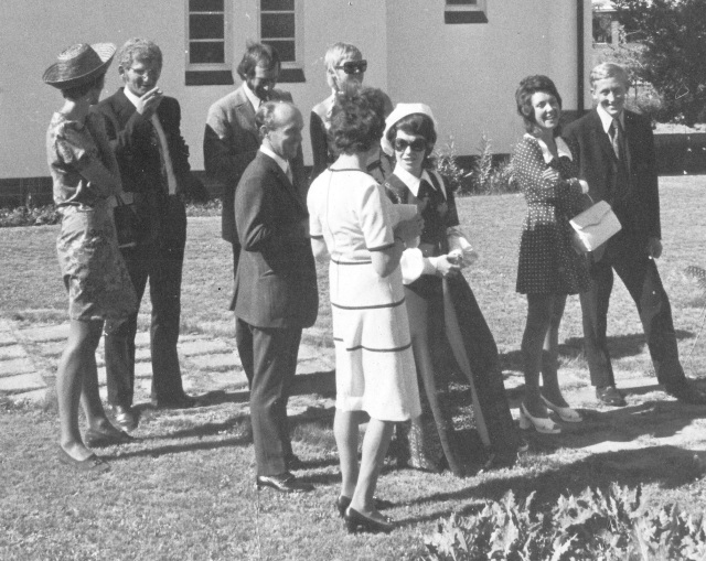 Taken by R.F.Loxton - his wife in the white dress. From L rear: Joey, Bruce, Charles, Valerie. Centre: Trevor & Sue Tawse. Right: Ken Greenwood & wife.