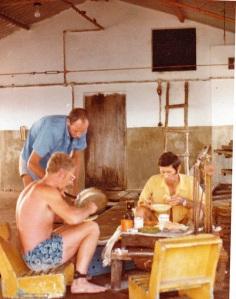 Camping in fish factory. PJE, Bruce Barichievy, Spine van Niekerk.