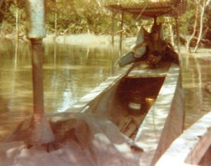 pirogue with diesel engine.